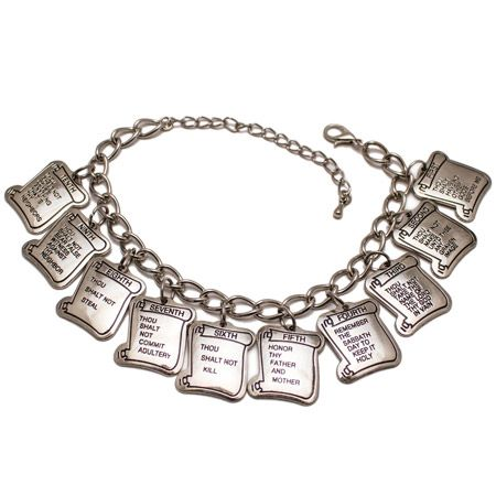 10 Commandments Silver Charm Bracelet