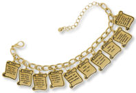 Ten 10 Commandments Charm Bracelet Gold