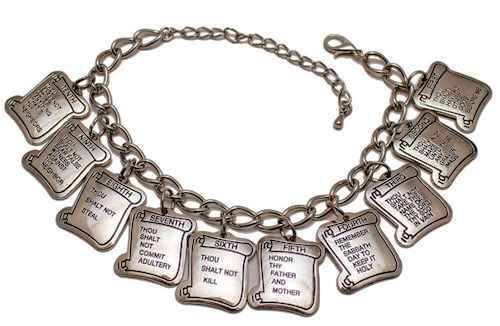 10 Commandments Silver Charm Bracelet
