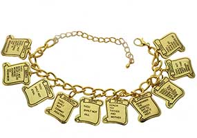 10 Commandments Gold Charm Bracelet