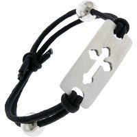 Cross Pewter Stretch Bracelet