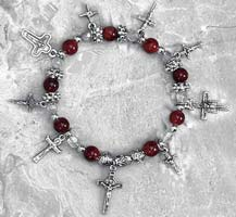 Cross Charms Bracelet Pewter