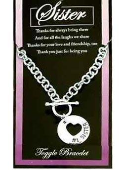 #1 Sister Silver Heart Chain Bracelet