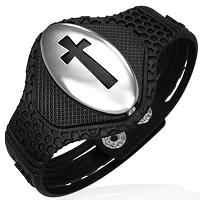 Bracelet w Stainless Steel Cut-out Cross Watch-Style