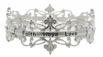 Silver Filigree - Faith, Hope, Love - Bracelet