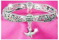 Bracelet Wish Peace, Unity  Dove Charm Silver