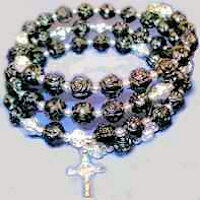 Black Coil Rosary  Beads Bracelet & Crucifix