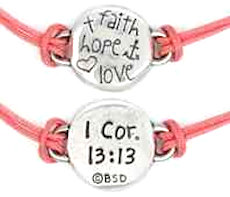 Faith Hope Love Adjustable Cord Bracelet