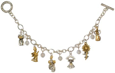 Count Your Blessings Angel Charm Bracelet Silver