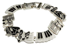 Piano Keyboard Music Notes Charms Bracelet