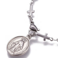 Virgin Mary, Miraculous Medal Bracelet Cross Chain