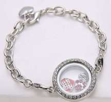 Floating Locket Bracelet,Silver Chain