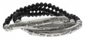 Black Silver Lord's Prayer Wrap Bracelet Set