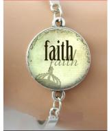 Antique Silver Faith Charm Bracelet