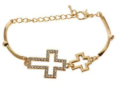 Sideways Cross Charm Bracelet