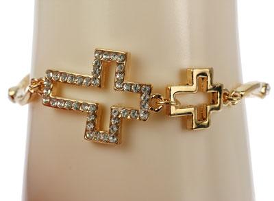 Sideways Gold Cross Charm Bracelet