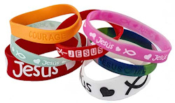 Christian Silicone Bracelets Assorted (Pkg of 12)