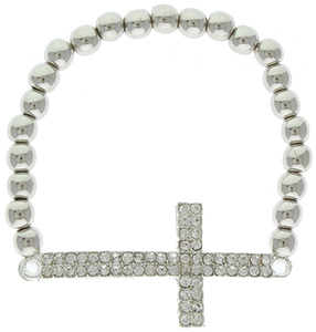 Sideways Rhinestone Cross Stretch Bead Bracelet