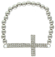 Sideways Rhinestone Cross Stretch Bead Bracelet