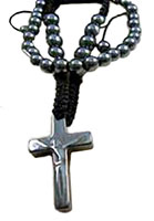 Two Beaded Crucifix Bracelets Black Hematite
