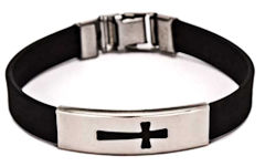 2853-1 Silicone stainless steel cross bracelet