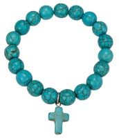Turquoise Bead Bracelet with Cross