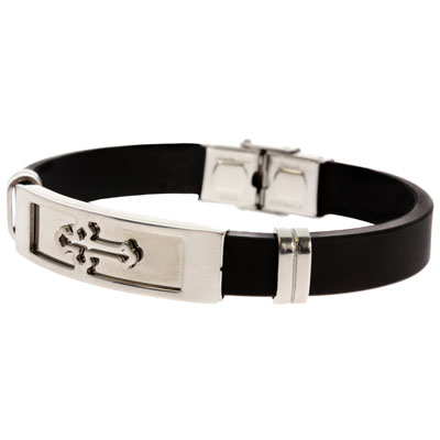 Budded Cross Stainless Steel Silicone Bracelet