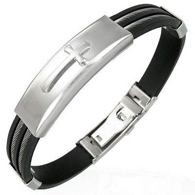 Cross Stainless Steel & Silicone Rubber Bracelet