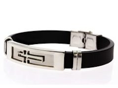 Outline Cross Stainless Steel Silicone Bracelet