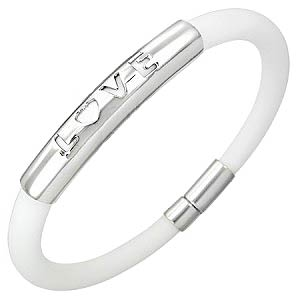 Love Stainless Steel Silicone Bracelet White
