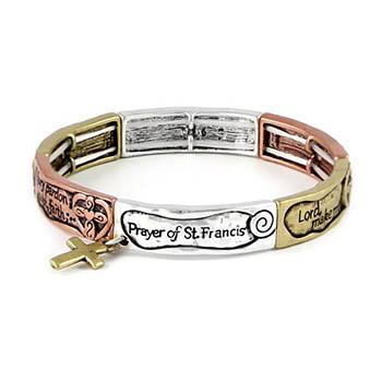St Francis Prayer Tri-color Bracelet Stretch