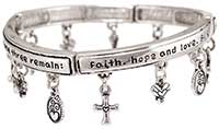 Bracelet Faith, Hope, Love Charms Silver