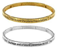 Jeremiah 29.11 Stretch Bracelet Gold or Silver