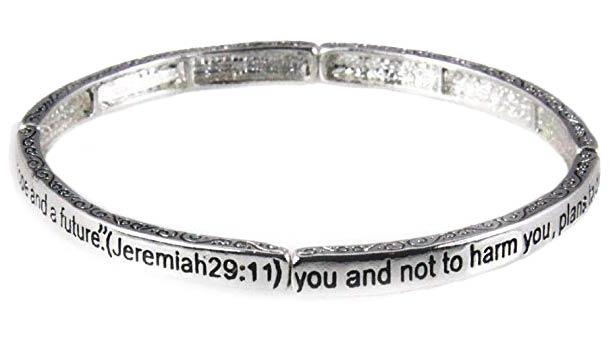 Jeremiah 29.11 Stretch Bracelet Silvertone