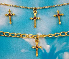 Gold Birthstone Cross Jewelry Set