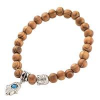 wood Beaded Bracelet with Hamsa Charm