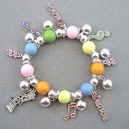 Beaded Music and Dance Stretch Bracelet