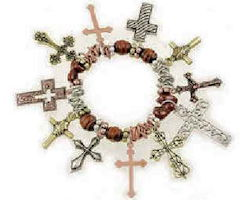 Multi Cross Charm Bracelet With Crucifix