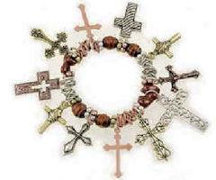 Multi Cross Charm Bracelet With Crucifix
