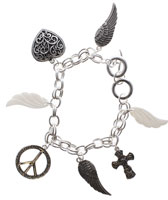 Charm Bracelet Silver Angel Wings Cross