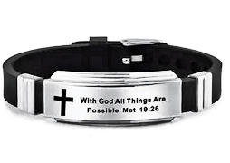 All Things Possible Stainless Steel Silicone Bracelet