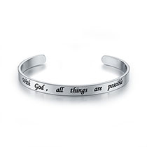 With God All Things Are Possible Pewter Bangle Bracelet