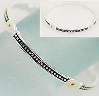 Silver Mustard Seed Bracelet  Narrow