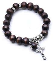 Wood Beaded Crucifix Bracelets Catholic