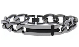 Men's Heavy Steel Gunmetal Cross Bracelet