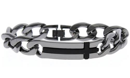 Men's Heavy Steel Gunmetal Cross Bracelet