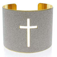 Cross Cuff Bangle Bracelet Gold