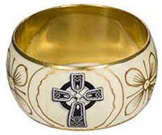 Celtic Cross Bangle Bracelet Gold & Black