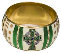 Celtic Cross Bangle Bracelet Green & Gold Enamel