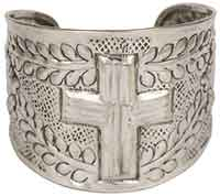 Cross Cuff Bracelet Hammered Metal